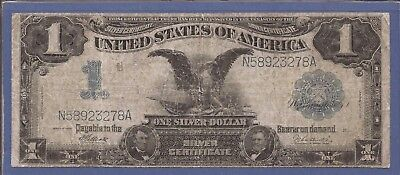 1899 $1 Silver Certificate Black Eagle,Large Blue Seal,Fr 234,circulated F,Nice!