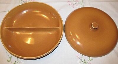 """2 PC Iroquois """"Russel Wright"""" Casual China Apricot Divided Casserole Bowl LARGE"""