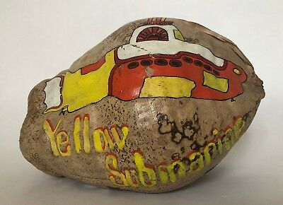 VINTAGE Beatles Yellow Submarine Hand-Painted Coconut Art Folk Art