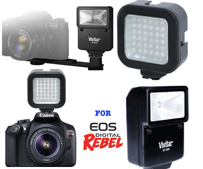 36 Led Light + Pro Slave Flash For Canon Eos Rebel Xs Xsi Xt Xti T1 T2 60D 70D