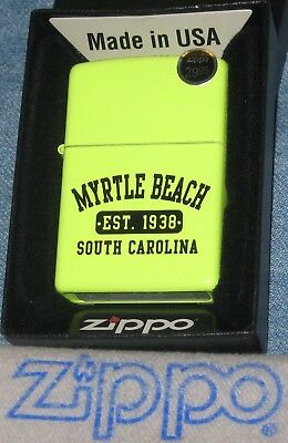 ZIPPO  MYRTLE BEACH SC Lighter EST 1938 Sign  MB Tourist NOS In BOX Neon Yellow