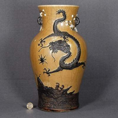 Chinese vase dragon carp Guangxu  光緒  crackled glaze plum antique porcelain