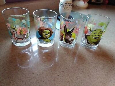 2007 Dreamworks McDonald's Shrek The Third Set of 4 Drinking Glass Tumblers