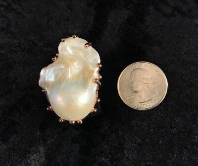 JUMBO ANTIQUE STYLE BAROQUE 39x25mm WHITE PEARL ROSE GOLD 925 SILVER RING SIZE 9
