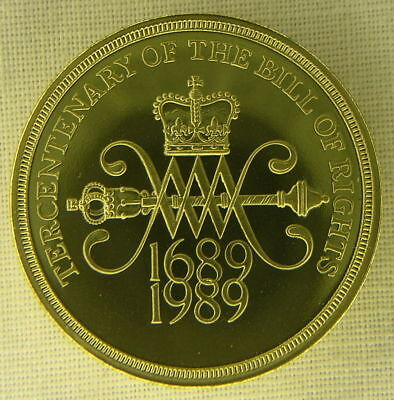 1989 Piefort Bronze Proof 2 Pounds GREAT BRITAIN Bill of Rights  300 Year Annv.