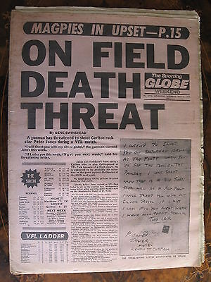 Sporting Globe    MAY 7 1977 Carlton PETER JONES DEATH THREAT