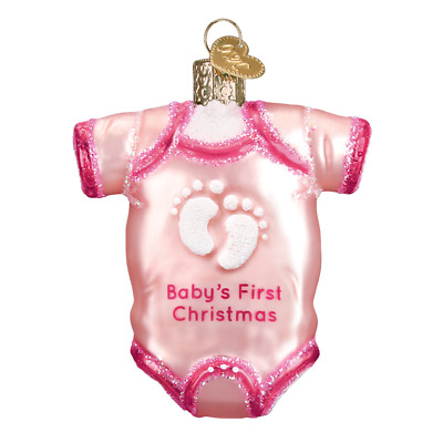 """Pink Baby Onsie"" (32338)X Old World Christmas Glass Ornament w/ OWC Box"