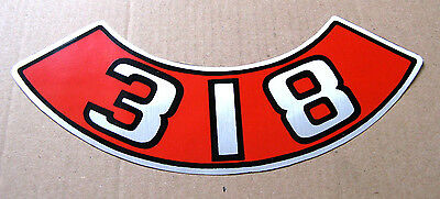 Aftermarket 318 Air Cleaner Decal silver lettering Mopar Chrysler Dodge Plymouth