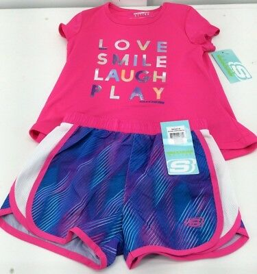 "SKECHERS - Girls ACTIVE Athletic Shorts/Shirt Set ""LOVE SMILE LAUGH PLAY"" - NEW"