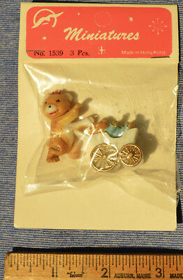 Cute Vintage Miniature Plastic Bear With Baby in Carriage New Old Stock