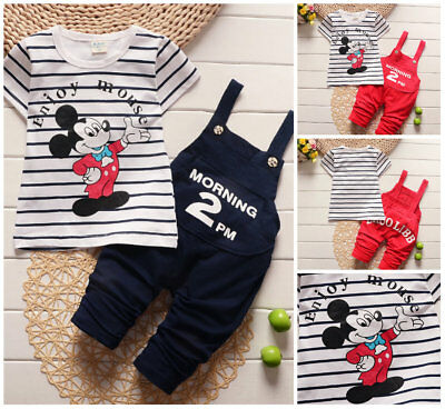 Toddler Kids baby boys summer cotton outfits Tee+ overall sets tracksuit cartoon
