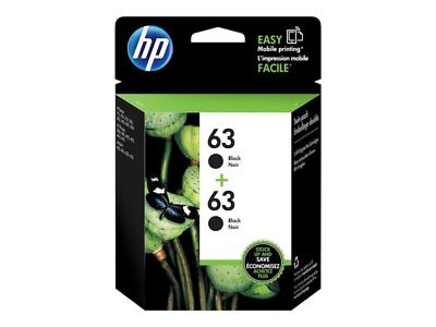 HP Genuine 63 Black Twin Pack Ink(Retail Box) In Date For HP ENVY 4512,4520,4513