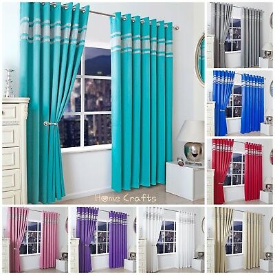 New Blackout Eyelet Diamante Curtains_Ring Top Lined Living/Bedroom All Sizes