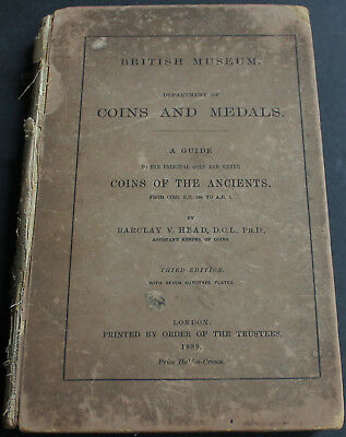 Rare Antique Coin & Medals British Museum Guide Gold Silver Ancients 1889 Scarce
