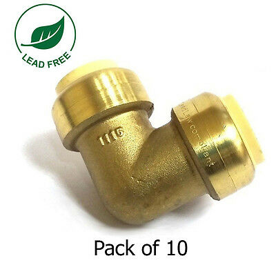 """3/4"""" Sharkbite Style (Push-Fit) Brass Elbow, Pack Of 10 Connect Fitting"""