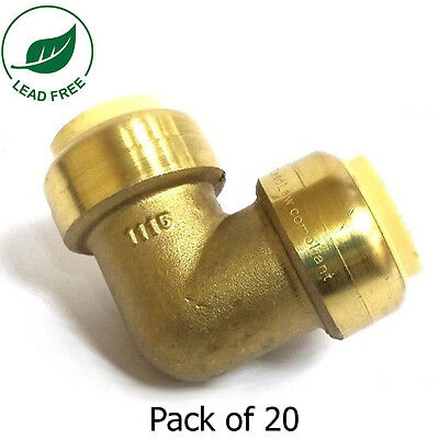 """3/4"""" Sharkbite Style (Push-Fit) Brass Elbow, Pack of 20 Connect Fitting"""