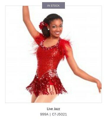 Salsa Tap Jazz Curtain Calls Costumes Live Red Dance Dress SIZE: Child LA  new
