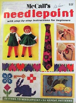 McCall's Needlepoint 24 repeat patterns 31 stitches 22 items 1971 Cross stitch