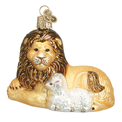 """""""Lion and Lamb"""" (12086)X Old World Christmas Glass Ornament w/OWC Box"""