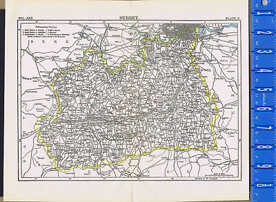 County of Surrey in England - Map Print -- 1907