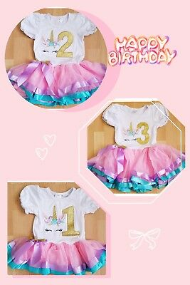Unicorn Baby Girl Birthday Party Outfit Dress Gold 1year To 3 Year Old