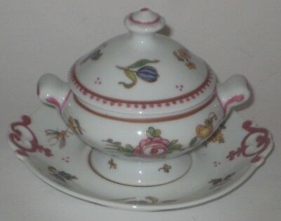Small HAND Painted TUREEN w/UNDERPLATE Vintage LIMOGES FRANCE Porcelain