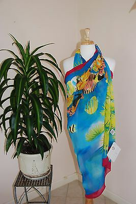 Peppermint Bay Pareo Cover up Wrap, Size Fists Most, Multicolored with Fish NWT1