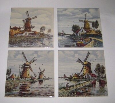 DELFTWARE 4 POLYCHROME Colorful TILES w/WINDMILLS Vintage DELFT HOLLAND Pottery