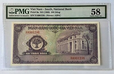 SOUTH VIETNAM 200 Dong (1958) P-9a  PMG 58 Choice About UNC