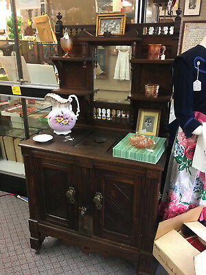 "LARGE ANTIQUE ""EASTLAKE"" VICTORIAN ICEBOX COMPLETE w/MIRROR BACKSTAND-SPIGOT-ETC"