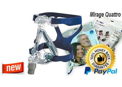 ResMed Mirage Quattro Full Face CPAP Mask & Headgear KIT, All sizes (New)