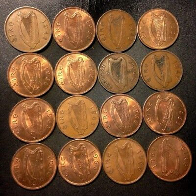 Old Ireland Coin Lot - 1935-1968 - 16 Excellent Pennies - Lot #516