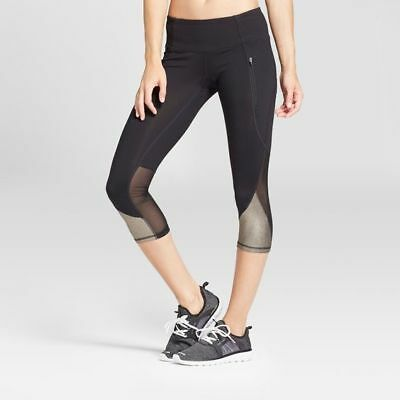 5b1b0ba92f46 C9 Champion Women s Premium Mesh Gold Blocked Capri Leggings - Black - XL