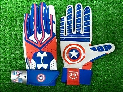 new youth/boy S/L under armour motive batting gloves alter ego- captain america