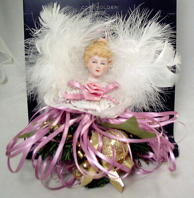 Handmade Victorian Lady Angel Christmas Ornament Has Lace Collar & Feather Wings