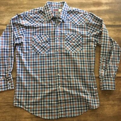Vintage 80s Big Mac Long Sleeve Western Plaid Shirt Mens Large L Pearl Snap
