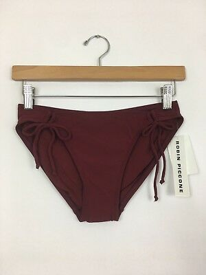902dd0e085ca6 ROBIN PICCONE Women's Ava Side Tie Bikini Bottom Swimsuit Cab Burgundy S $66