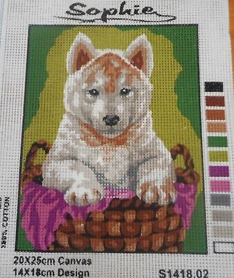 DOGGIE IN A BASKET - Tapestry to Stitch (NEW) by SOPHIE