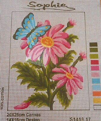BUTTERFLY & PINK FLOWERS - Tapestry to Stitch (NEW) by SOPHIE
