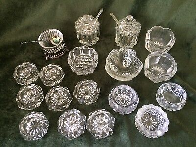 Mixed Antique Lot of 18 Old Pressed Clear Glass Salt Cellars Pinch Dips Bowls