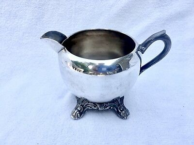 Vintage ~ FB Rogers Silver Co.~Silver on Copper~Creamer With Lg Spout~Footed~