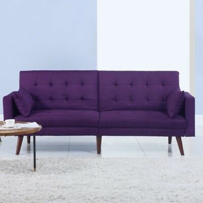 CONVERTIBLE SOFA FUTON Couch w/ 2 Pillows Linen Upholstery Purple ...