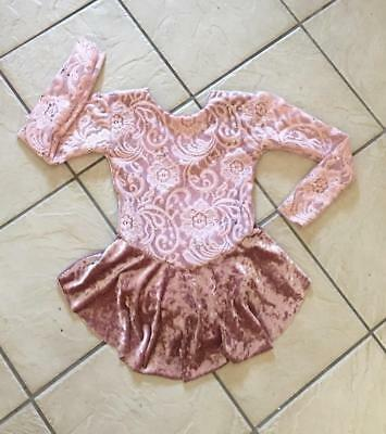 NEW Girls MAUVE Crushed VELVET Sequin Lace Competition FIGURE ICE SKATING Dress
