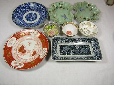 Large Asian Lot Chinese Japanese Cups Plates Dishes Eggshell Signed Stamped