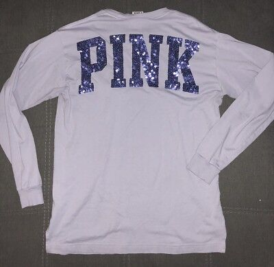 cdbac62eee1 Victoria's Secret PINK Long Sleeve Campus Lilac/Lavender Sequins Bling Shirt  S