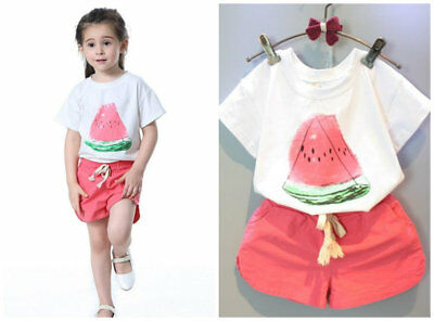 Toddler Baby Girls T-shirt + short pants Summer casual Kids Outfits watermelon