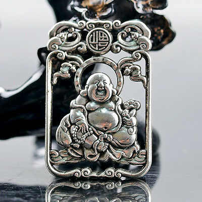 Chinese Collectable Tibet Silver Hand Carved Maitreya Buddha Pattern Amulet Q110