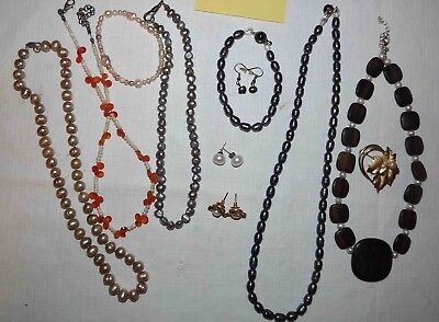 Huge Lot C Of Genuine Pearl Jewelry, Necklaces, Earrings, & More *lqqk*