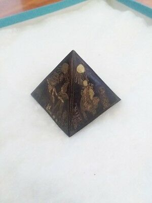VERY COOL Antique Bronze Metal Pyramid~Etched Brass/Copper~Ancient Egypt