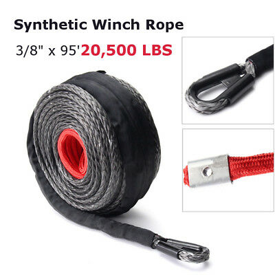 28m 9.5mm Synthetic Winch Rope Line Cable 20500LBs ATV SUV Recovery Rope